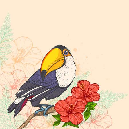 Sommer tropischen Hintergrund mit Blumen und Tukan