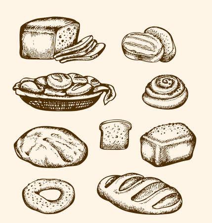 bagels: Set of vintage hand drawn bakery, illustration Illustration
