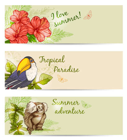 Horizontal summer tropical banners with flowers and animals
