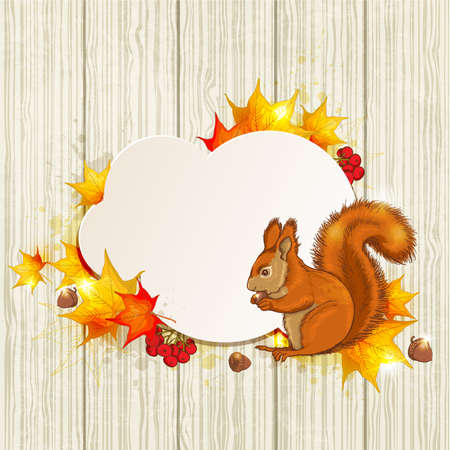 fluffy: Autumn background with red fluffy squirrel and maple leaves Illustration