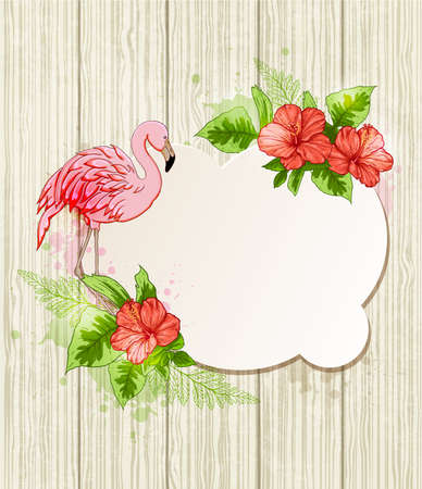 flores tropicales: Summer background with red tropical flowers and pink flamingo Vectores