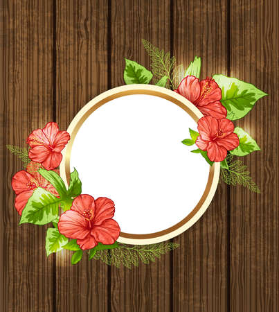 beautiful red hibiscus flower: Round banner with red tropical flowers and green leaves