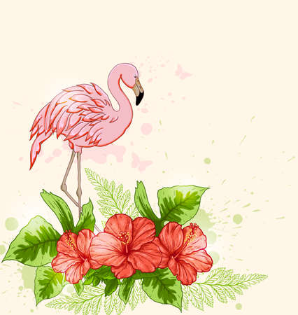 pink flamingo: Summer tropical background with red flowers and pink flamingo