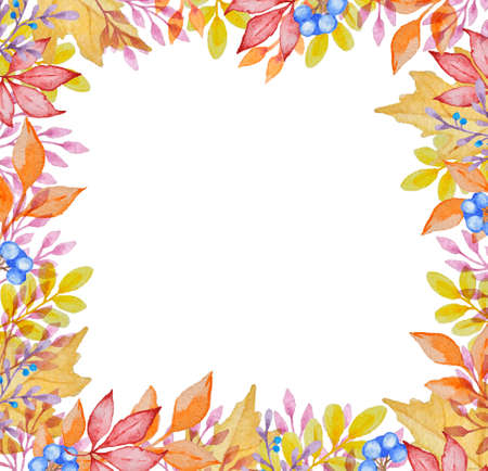 leaves frame: Watercolor frame with red and orange autumn leaves on a white background Stock Photo