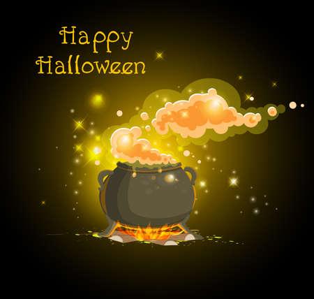 pócima: Olla con una poción mágica. Fondo de vector de Halloween.