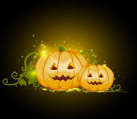 terrible: Halloween background with two terrible pumpkins