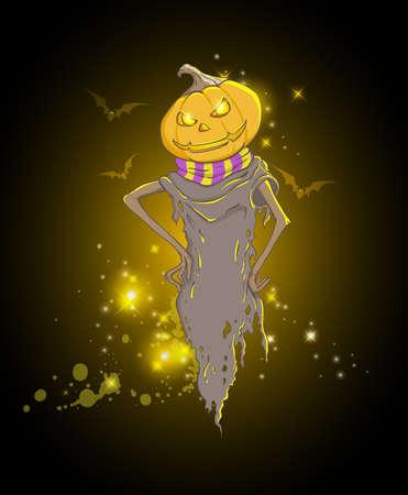 frightful: Halloween background with spooky pumpkin