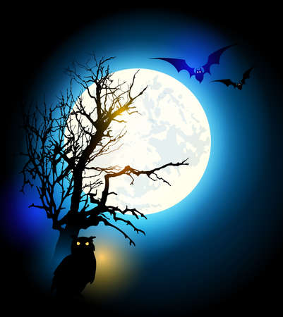 moon  owl  silhouette: Halloween vector background with silhouette of tree and owl