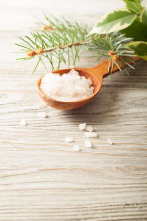 aromatic: Aromatic bath salt in a wooden spoon and pine branch