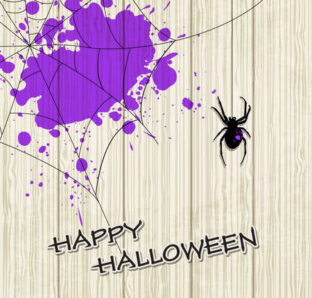 violet background: Halloween vector background with spider and violet blots