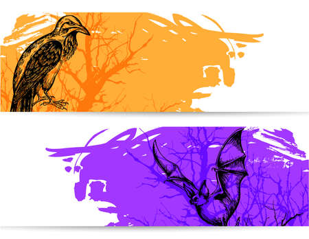 grunge background: Horizontal banners for Halloween with raven and vampire bat Illustration