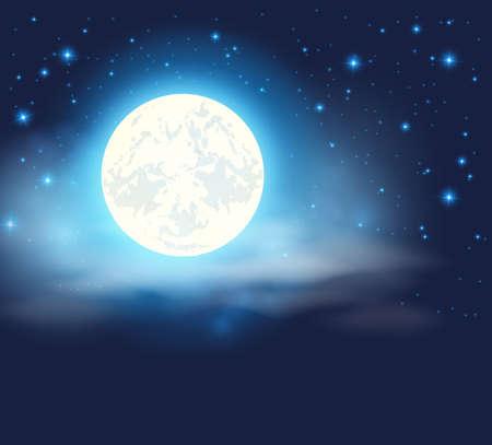 noche y luna: cielo nocturno con una luna llena y las estrellas Vectores