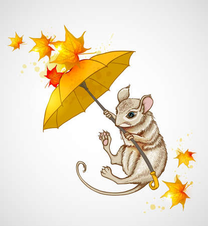 Autumn background with mouse flying under the umbrella