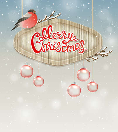 card christmas: Christmas background with bullfinch, decorations and greeting inscription