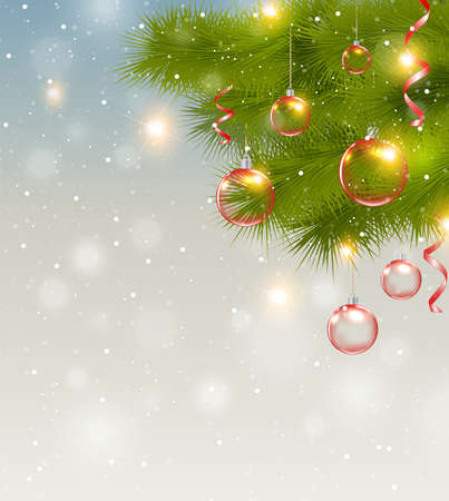 serpentines: Christmas background with red decorations and green pine branch