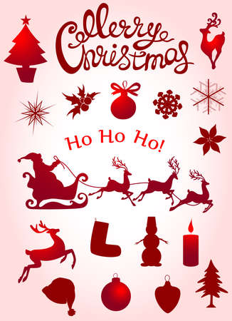 snowman hat: Set of vector Christmas elements for design.  Inscriptions and silhouettes. Illustration