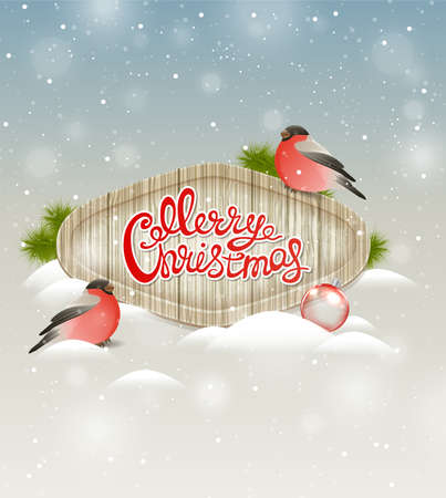 december holidays: Christmas background with two bullfinch and greeting inscription