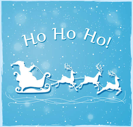 christmas blue: Blue Christmas background with Santa Claus and deers Illustration