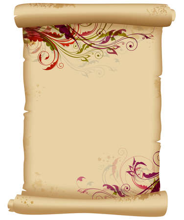 scroll: Ancient scroll with floral ornaments. Decorative vintage background.