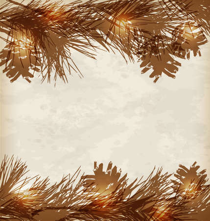 pinecone: Vintage Christmas background with pine branches and cones