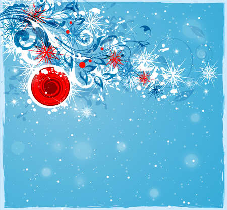 branch of a christmas tree: Abstract Christmas background. Snowflakes and decorations on a blue background. Illustration