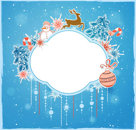blue christmas background: Blue Christmas background with decorations and deer