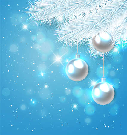 pine branch: Blue Christmas background with white pine branch and decorations