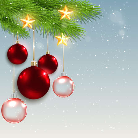 fir branch: Christmas background with red decorations, golden stars and green fir branch