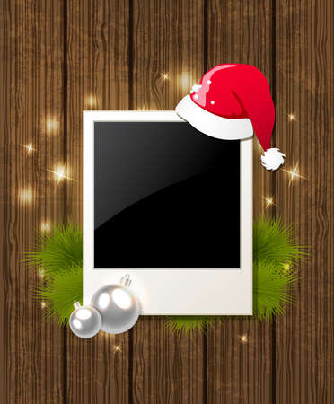 wood frame: Christmas vector  background with photo, fir branch and Santas hat Illustration