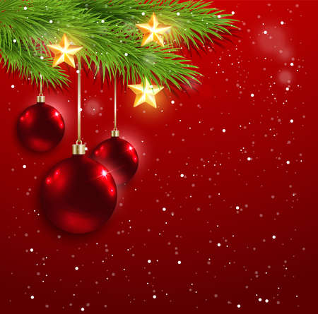 red christmas ball: Christmas background with red decorations and golden stars