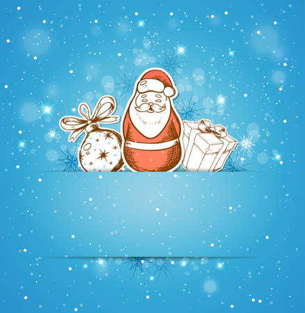 blue christmas background: Blue Christmas background with decoration, gift and Santa Claus Illustration