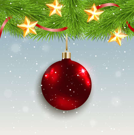 serpentines: Christmas background with shining red decoration and green fir branch
