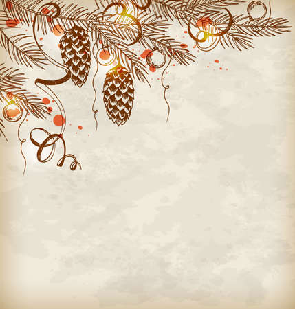 december holidays: Vintage hand drawn Christmas background with pine branch and cones Illustration