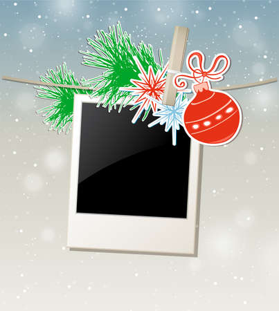 photo frames: Christmas background with photo and green pine branch Illustration