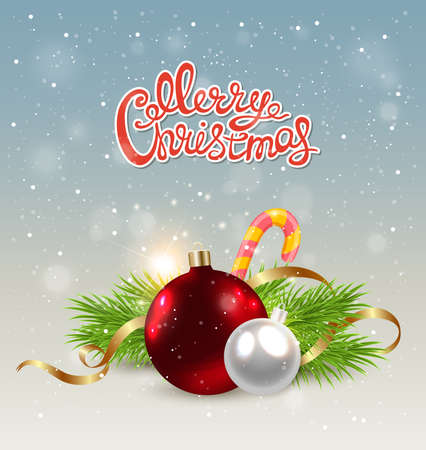 serpentines: Christmas background with red decoration, candy cane and green fir branch
