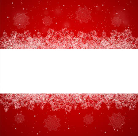 horizontal: Horizontal red Christmas banner with snowflakes