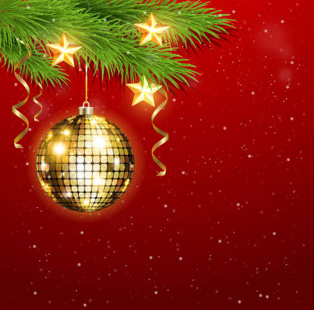 red ball: Christmas background with shining golden decorations and stars