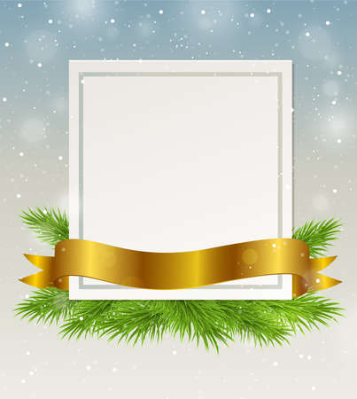 december holidays: Decorative frame with golden ribbon and green fir branch. Christmas background.