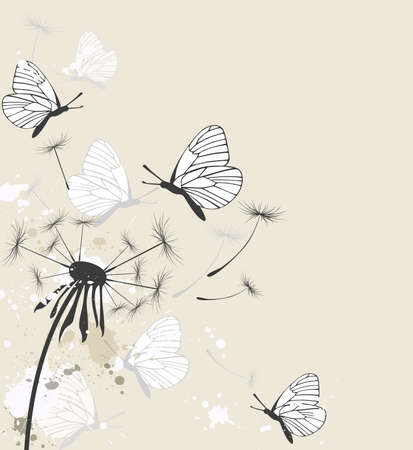 butterfly background: Decorative floral background with dandelion and butterflies