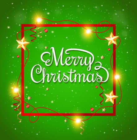 marcos decorativos: Marco decorativo de Navidad con la inscripción de felicitación en un fondo verde