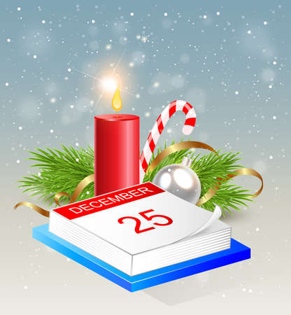 serpentines: Christmas background with calendar and red candle