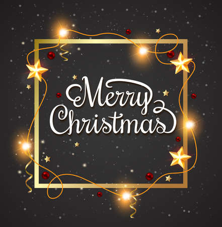 message card: Decorative Christmas frame with greeting inscription on a black background