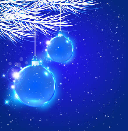 december holidays: Abstract Christmas background with blue decoration and fir tree