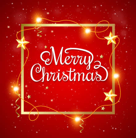red christmas background: Decorative Christmas frame with greeting inscription on a red background