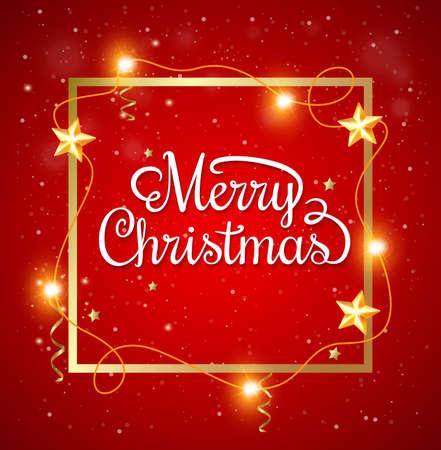 semaforo en rojo: Marco decorativo de Navidad con la inscripci�n de felicitaci�n en un fondo rojo