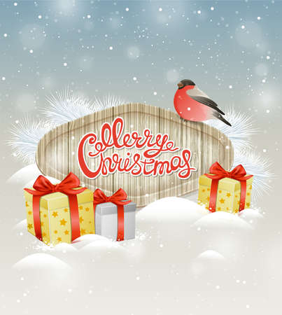 bullfinch: Christmas background with bullfinch and gifts in snow