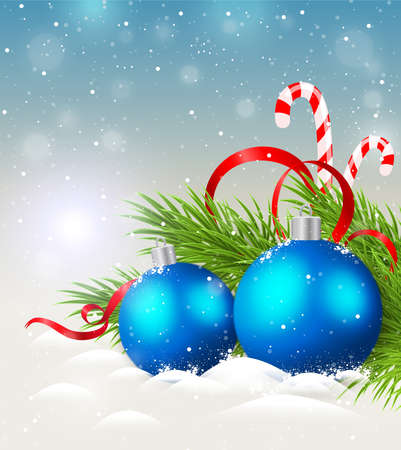christmas blue: Christmas background with shining blue decorations and candy cane