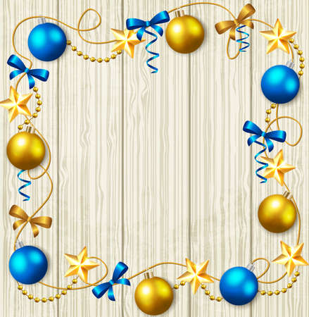 serpentines: Decorative Christmas background with stars and blue and yellow baubles Illustration