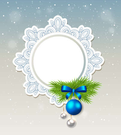 fir branch: Decorative Christmas banner with green fir branch and blue decoration