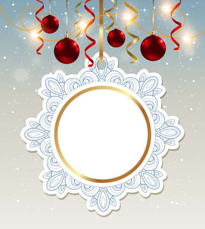 christmas red: Decorative vector Christmas banner with shining garland and red baubles